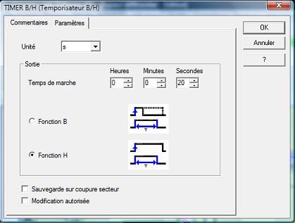 programme Millenium bypass temporisé paramètres TIMER B/H